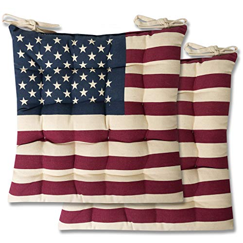 Sweet Home Collection Chair Cushion Seat Pads Indoor/Outdoor Printed Tufted Design Soft and Comfortable Covers for Dining Rooms Patio with Ties for Non Slip, 2 Pack, American Flag 2 Count
