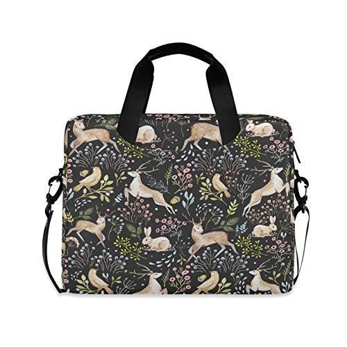 JNlover Animal Rabbit Flower Leaf Laptop Bag 16 inch, Portable Sleeve Briefcase Laptop Case Notebook Computer Carrying Case Bag for Women Men