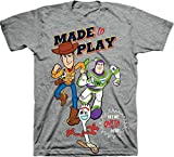 Toy Story Made to Play Woody Buzz & Forkie Crew Neck Short Sleeve Ghaphic Tee - Grey Heather/Size: 5/6