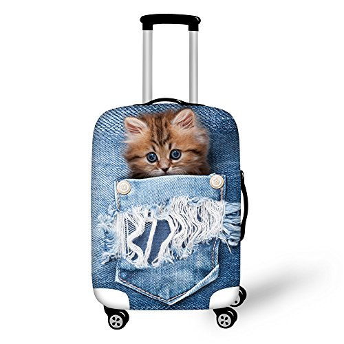 Coloranimal Awesome Cat Luggage Protect Covers for 26/28/30 Inch Suitcase Elastic Cover
