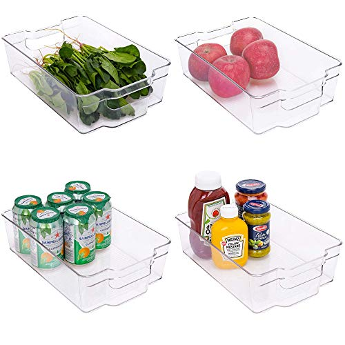 StorageWorks Large Stackable Fridge Organizer Bins, Plastic Storage Bins with Handles for Freezer or Pantry, Clear Refrigerator Containers for organizing, BPA-Free, 12.2