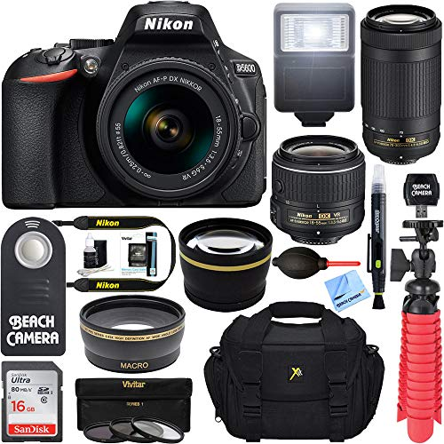 Nikon D5600 24.2MP DSLR Camera with 18-55mm VR and 70-300mm Dual Lens (Black) - (2 Lens Value Kit 18-55mm VR & 70-300mm) - (Renewed)