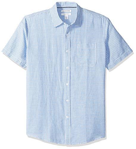 Amazon Essentials Men's Regular-Fit Short-Sleeve Linen Cotton Shirt, Blue Gingham, Large