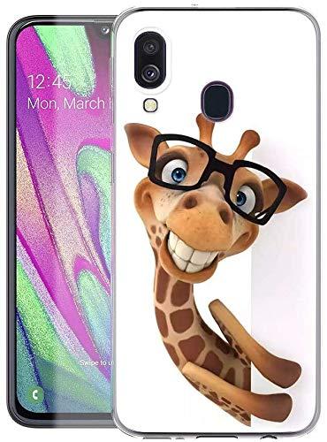Pnakqil Hülle kompatibel mit Samsung Galaxy A40 Phone,Silikon Schutzhülle TPU Clear Transparent Kratzfest Ultra Dünn Stoßfest Muster Handyhülle für Samsung Galaxy A40, Giraffe