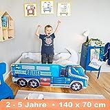 Alcube Autobett Polizei LKW 140 x 70 cm - Kinderbett mit Kantenschutz in Blau mit Lattenrost und Matratze - MDF mit Folie beklebt