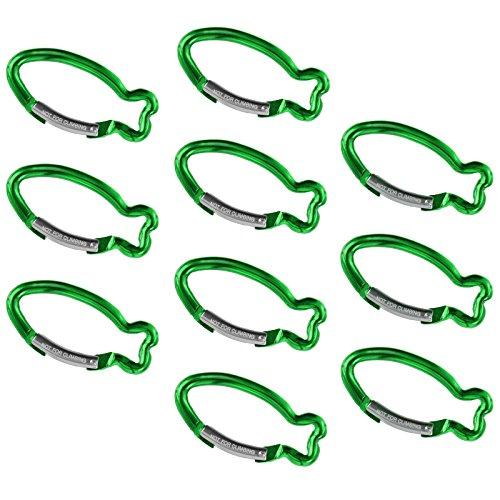 BB Sport 10er Set Materialkarabiner Karabiner Fisch Schlüsselanhänger Karabinerhaken Zubehörkarabiner, Farbe:grün