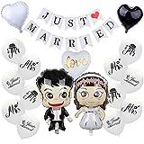 Decoración de boda, decoración de Just Married, globo blanco Just Married, guirnalda Just Married, guirnalda de pancartas, novia novio, globo para fiesta de novios, decoración de coche