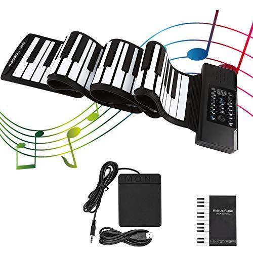 KKTECT 88 Tasten Roll Up Piano Tragbare faltbare Klaviertastatur Klavier/Schlagzeug Kit Funktionen, für Anfänger, Erwachsene oder Fingerkraftübungen, mit 128 Arten von Rhythmen, 128 Arten von Tönen