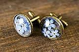 Gemelli a forma di fiore, con fiori blu, in resina, gemelli rotondi in bronzo di vetro, immagine artistica, gioielli con ciondoli, camicie