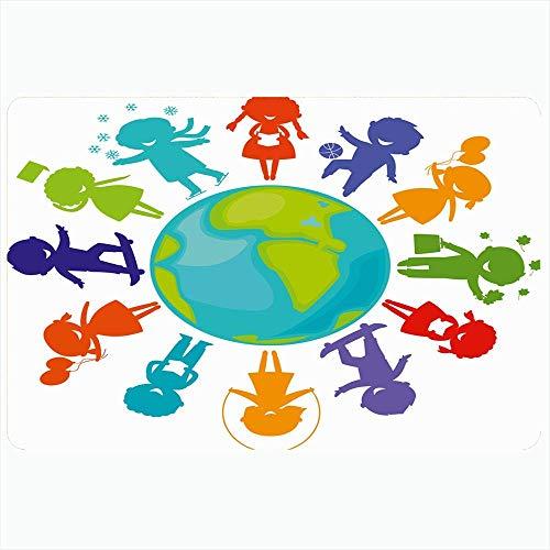 Badeteppich für Badezimmer Rutschfeste Matten Niedliche springende Kinder Silhouetten um die Welt Kleid Erde Nerd Schlittschuhe Menschen Zeichen Globus Symbole Plüsch Dekor Fußmatte Rutschfeste Rücken