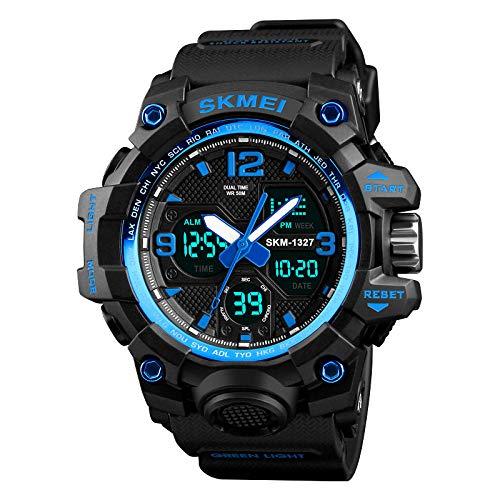 TWCAM Acero Cuero Pulsera Hombre- Mire El Reloj Deportivo De Los Hombres Al Aire Libre Reloj Electrónico De Doble Pantalla Luminoso, Trompeta Azul