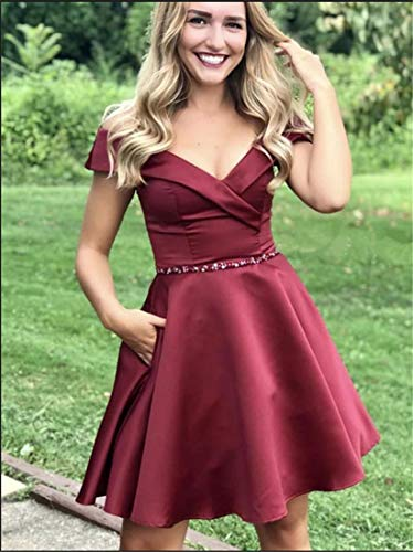 Off The Shoulder Homecoming Dresses Short Beaded Satin A-Line Evening Prom Gown Size 14 Burgundy