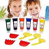imoli Kit di Pittura per Dita, Set di Arte Lavabile Non tossico Regalo per Bambini Piccoli progetti Fai-da-Te Colors 6 Tubi di Compressione di Colori, Forniture per Bambini Pittura Regali