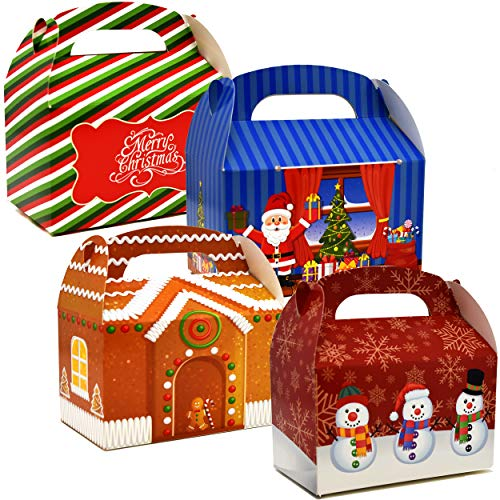 48 3D Christmas Treat Boxes Holiday Cardboard Paper Gable Boxes For School Classroom Party Favor Supplies Decor Candy Goodie Cookie Box Gingerbread House Snowflake Santa Merry Christmas Gift Boutique