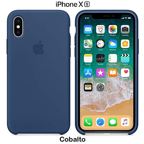 Funda Silicona para iPhone X y XS Silicone Case Calidad, Textura Suave, Forro Interno Microfibra (Azul Cobalto)