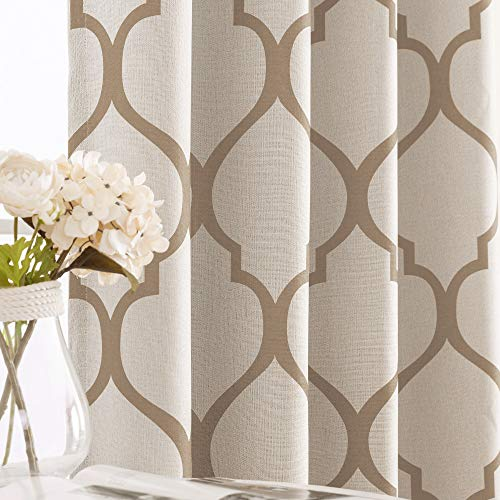 jinchan Moroccan Tile Linen Textured Curtains Printed Curtain Panel Bedroom Living Room Thermal Insulated Window Treatment 1 Panel 63 Inch Taupe