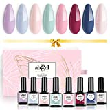 Set di smalti per unghie gel UV Angel Collezione regalo 8 colori, Soak Off Nail color viola Pastello Blu Verde Rosso Set di smalti in gel rosa nudo