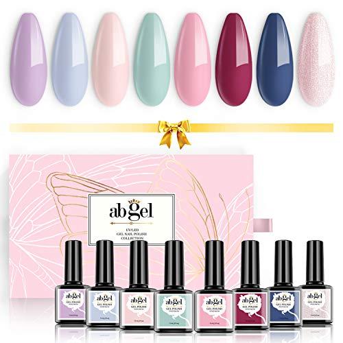 Set di smalti per unghie gel UV Angel Collezione regalo 8 colori, Soak Off Nail color viola Pastello Blu Verde Rosso Set di smalti in gel rosa nudo