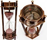 5' DECORATIVE BRASS SAND TIMER HOURGLASS WITH ANTIQUE MARITIME BRASS COMPASS