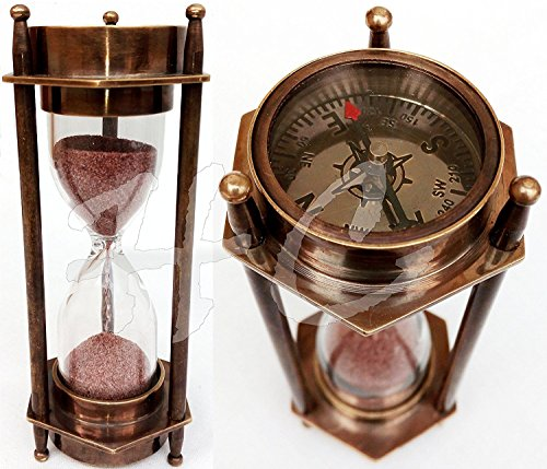 12,7cm Dekorative Messing Sand Timer Sanduhr mit Antik Maritime Messing Kompass