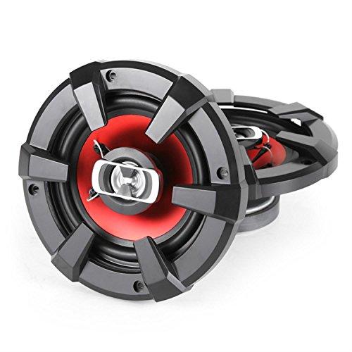auna SBC-6121-3-Wege-Koaxial-Boxen, Auto Lautsprecher, Car HiFi Set, Einbau-Lautsprecher Paar, 1200 W max. Leistung, 2 x 15 cm-Lautsprecher, Neodymium-Tweeter, schwarz-rot