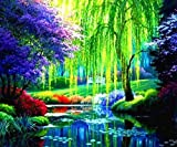 LSDAMW 5D DIY Diamond Painting Kits for Garden Weeping Willow Adults Full Drill Crystal Rhinestone Embroidery Cross Stitch Arts Craft Canvas Wall Decor(16x20inch NO Frame)