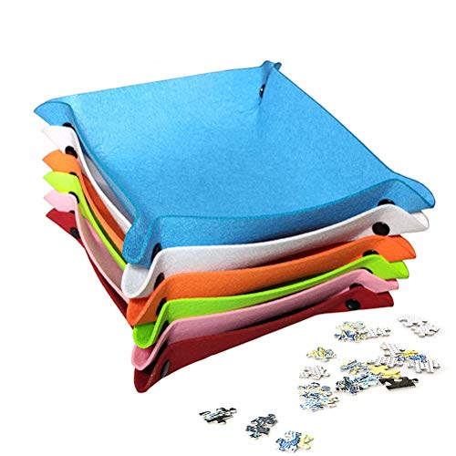 WBTY Cesta de almacenamiento, 6 piezas de fieltro, rompecabezas, bandejas apilables plegables para rompecabezas para juego de mesa, bandeja de dados