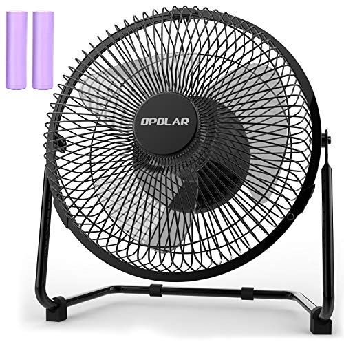 OPOLAR Battery Operated Rechargeable Desk Fan for Home Camping Hurricane, 9 Inch Battery Powered USB Fan with Metal Frame, Quiet Portable Fan with 5200 mAh Capacity & Strong Airflow