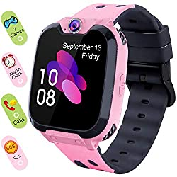 Smart Watch for Kids Boys Girls - Touch Screen Game Smartwatch with Call SOS Camera 7 Games Alarm Clock Music Player Record for Children Birthday Gifts 3-10 Kids Phone Watch with 1GB SD Card (Pink)