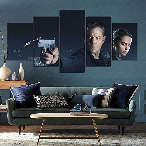 Airxcn Neues Hausgeschenk Jason Bourne Leinwand gedruckt Poster 5 Stück 100x50cm Rahmenlos