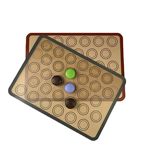 Silikon Backmatten, 2 Stück Antihaftbeschichtet Silikonmatte, Backmatte aus Silikon für Macarons Keks, Backunterlagen, Wiederverwendbare Ofenauskleidung, für Backform, zur Herstellung von Gebäck
