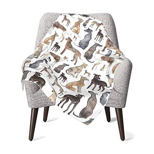 Manta de franela de forro polar suave y cálido galgos Wippets and Lurcher Perros Niños Niño Niño Cochecito Manta de felpa 100 x 76 cm