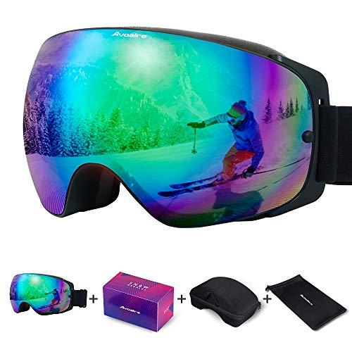 Avoalre Skibrille Snowboardbrille Für Damen und Herren - Rahmenlos Ski Snowboard Brille für Brillenträger Schutzbrillen, 100% OTG Anti-Fog 400 UV-Schutz Schneebrille Verspiegelt Snowboard Ski Goggles