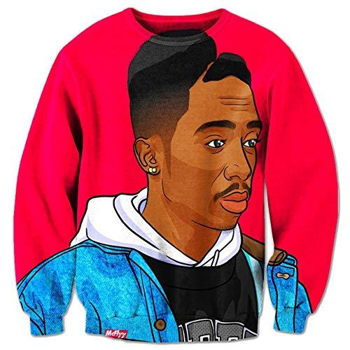 Funny Hoodies Interessant Hot Sweatshirt 3D Kleidung T-Shirt Gr. L, Tupac Thug Life
