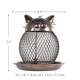 LFDHSF Bird Feeder Cat Shaped Vintage Handmade Outdoor Decor Villa Garden Decoration Hanging Bird Outdoor Feeder