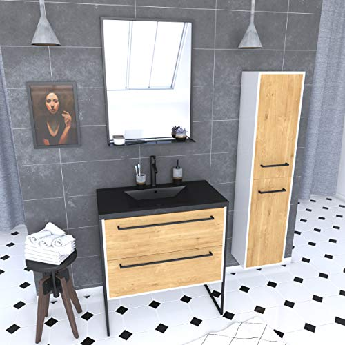 Aurlane - Conjunto de baño de 80 cm, roble natural, lavabo negro, espejo LED y columna de almacenamiento