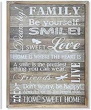 Cuadro Decorativo de Madera para salón con Frase Divertida - Happy Home- Hogar y más - C