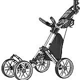 caddytek Caddycruiser One Version 8 - One-Click Folding 4 Wheel Golf Push Cart, Silver