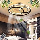 ventilatori da soffitto led con illuminazione dimmerabile moderno fan plafoniera lampada da soffitto ultra silenziosa ventilatore invisibile 3 velocità paralume acrilico fan lampadario,53cm/50w