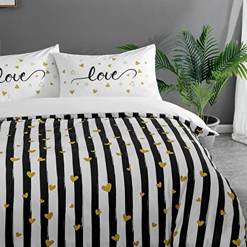 MOHAP Duvet Cover Set Double 3 Pieces Zippered Brushed Microfiber Bedding Printed Pattern with Pillowcases Black and White Striped