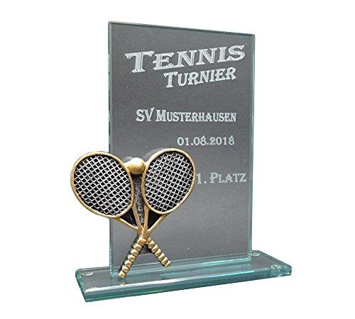RaRu Tennis-Glaspokal Resin-Figur mit Lasergravur Nach Wunsch