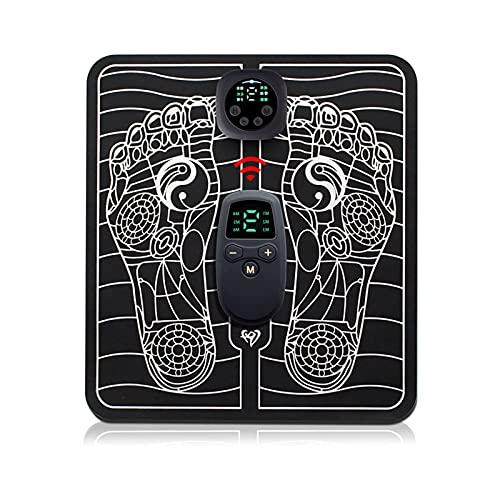 Komake EMS Fußmassagegerät Elektrisches, EMS Leg Reshaping Foot Massager, 6 Modi, 9 Intensitätsstufen,Faltbare Tragbare USB Wiederaufladbares Elektrisches Fußstimulator-Massagegerät Mit Fernbedienung