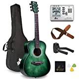 Left Handed 36 Inches 3/4 Acoustic Guitar Travel Bundle with Bag, Metronome Tuner, Wall-mounted Hanger, Strap, Picks & Cleaning Cloth, Dark Hunter Green