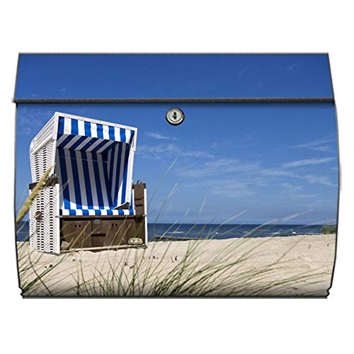 motivX-Ideenwerkstatt Briefkasten Swing Wandbriefkasten mit Motiv Strandkorb am Meer