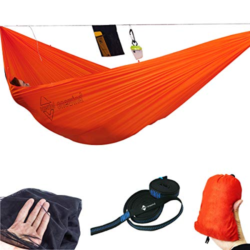 onewind Double Camping Hammock with Removable Net,10.5'Tree Strap,Ridgeline -Portable Ripstop Nylon-Perfect for Yard,Patio, Hiking, Travel- Hold 500lbs(126 inches68inches)