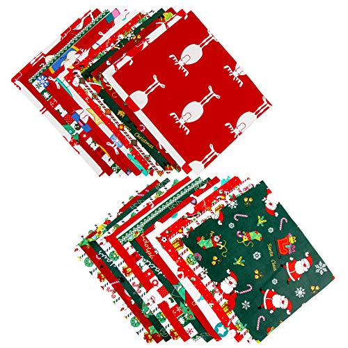 24 Pieces Cotton Fabric Christmas Fabric Bundles Sewing Square Fabric Christmas Printing Quilting Fabric Patterns Cotton Patchwork for DIY Craft Christmas Party Supplies (7.8 x 9.8 Inch/20 x 25 cm)