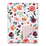 BORITAR Baby Blanket for Girls Super Soft Double Layer Minky with Dotted Backing, Receiving Blanket with Elegant Floral Multicolor Printed Blanket 30 x 40 Inch(75x100cm)