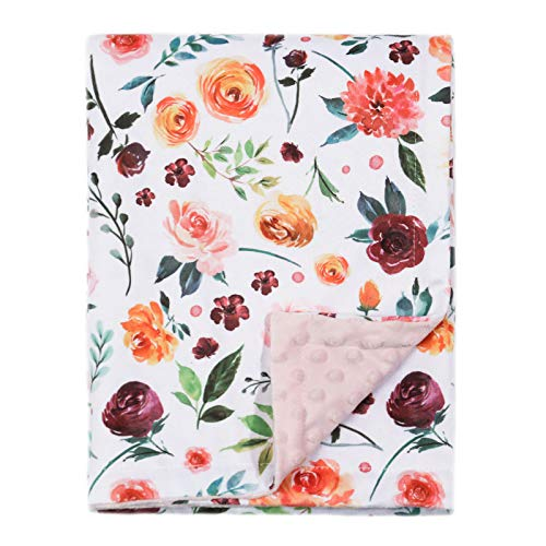 BORITAR Baby Blanket for Girls Super Soft Double Layer Minky with Dotted Backing, Receiving Blanket...