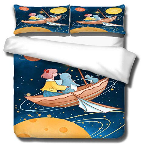 Duvet Cover Set 3 Piece,3D printing Duvet Set Bedding Set for 135 * 200cm Single Bed with 2 Pillowcases.Adult and child's style: Child, spaceship