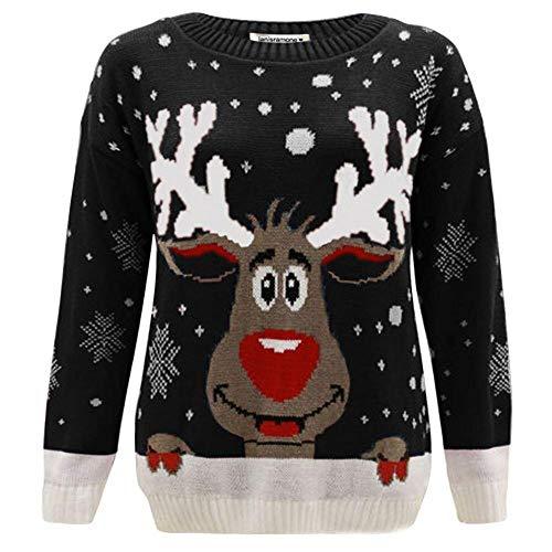 NUOVI Bambini Ragazzi Ragazze NATALE JUMPER RENNA e Fiocco di Neve Christmas Sweater Jumper